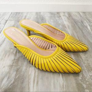Nanette Lepore Yellow Slip On Kitten Heels